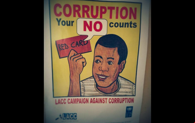 Poster with anti-corruption message.