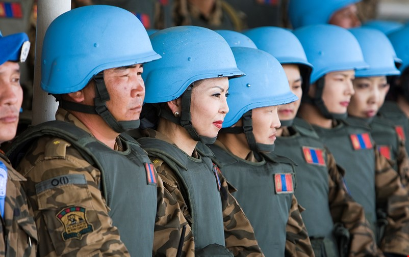UN peacekeepers in blue helmets.