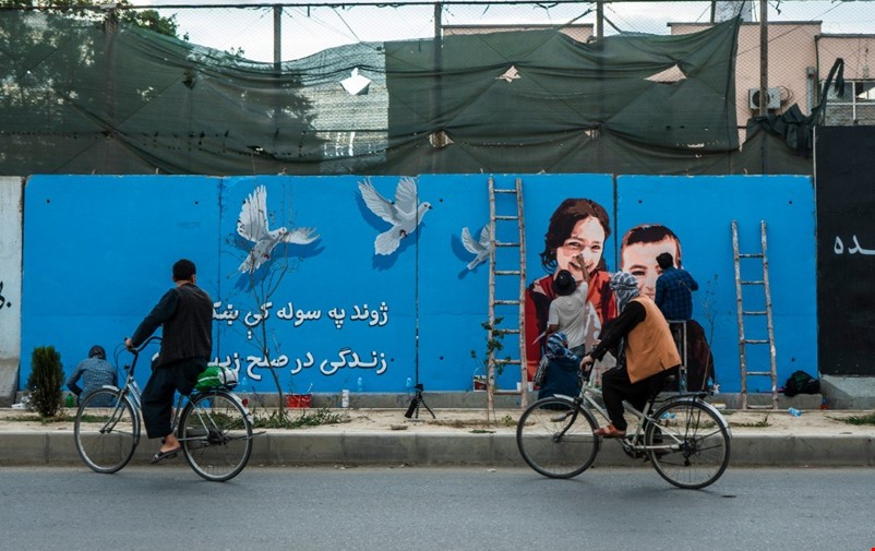 Mural with message of peace in Afghanistan.